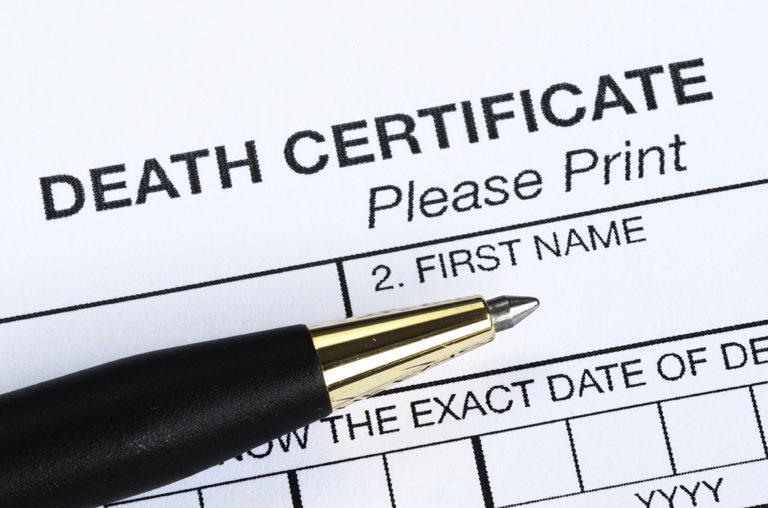 A Death Certificate Form