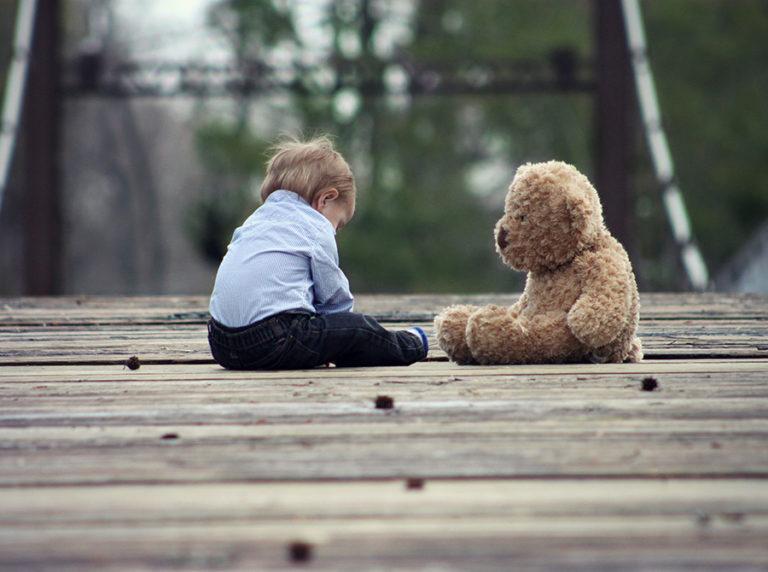 Little Boy and His Teddy Bear